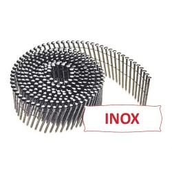 Pointes 16° 2.1x38 mm crantées INOX A2 TB en rouleaux plats fil inox