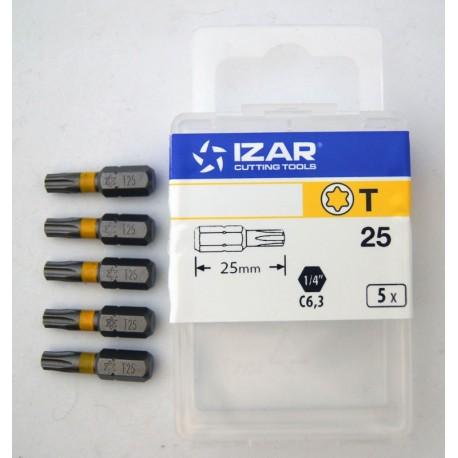 5 Embouts torx de 25 tx25 longueur 25mm