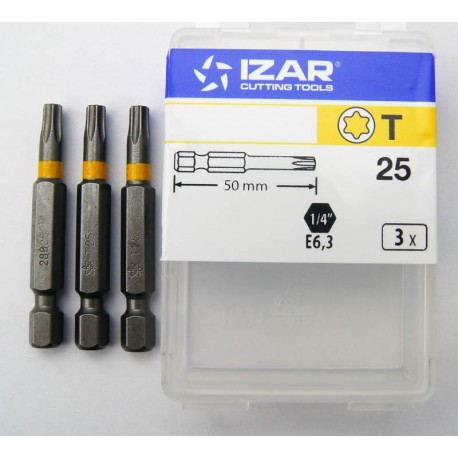 3 Embouts torx de 25 tx25 longueur 50mm
